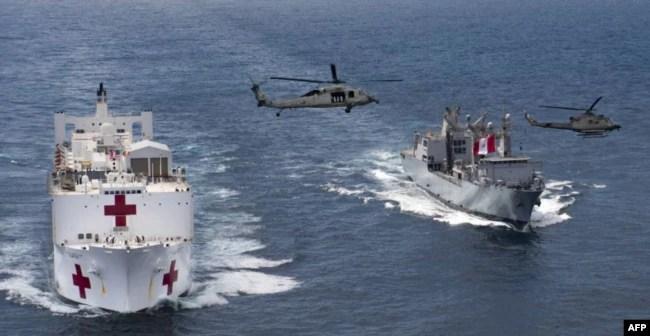 El buque-hospital USNS Comfort haciendo entrada a Santa Marta, Colombia