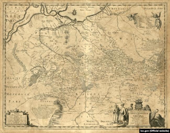Генеральна карта України французького військового інженера та картографа Гійома Левассера де Боплана, 1648 року. Назва: Delineatio generalis Camporum Desertorum vulgo Ukraina: cum adjacentibus provinciis. (Щоб відкрити мапу у більшому форматі, натисніть на зображення)
