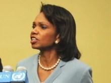 U.S. -- US Secretary of State Condoleezza Rice at UN headquarters in New York, 19Jun2008