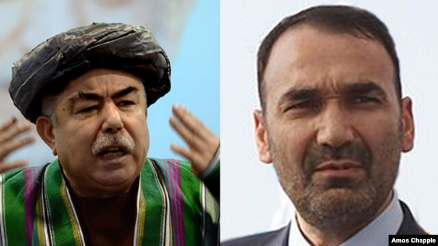 Abdul Rashid Dustom (right) and Atta Mohammad Noor were fierce rivals during the bloody Afghan civil war of 1992-96