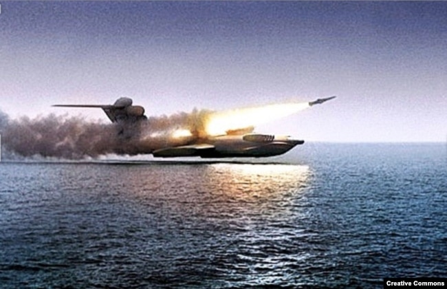 The ekranoplan during tests on the Caspian Sea in the 1980s