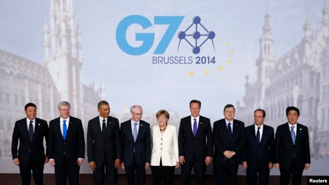 Belgium -- Leaders pose for a family photo at the G7 summit in Brussels, June 5, 2014