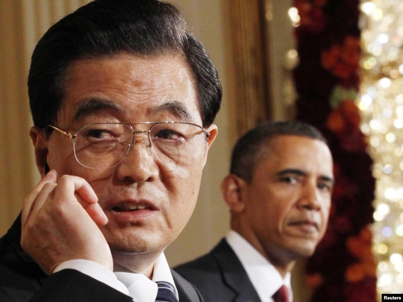 Presidents Barack Obama and Hu Jintao at a joint press conference in Washington on January 19.