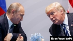 U.S. President Donald Trump meets with Russian President Vladimir Putin at the G-20 Summit in Hamburg. July 7, 2017