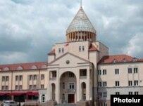 Nagorno-Karabakh -- The parliament building in Stepanakert.