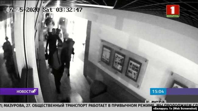 Телевізійний кадр затримання найманців «Вагнера» під Мінськом, 29 липня 2020 року