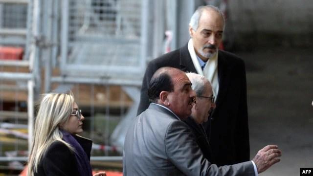 هیئت نمایندگان سوریه در ژنو؛ احمد ارنوس، معاون وزیر امور خارجه، بشار الجعفری، نماینده سوریه در سازمان ملل و لونا شبل