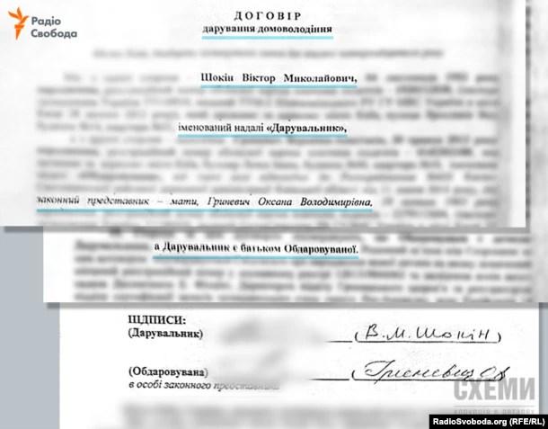 Договір дарування маєтку, який засвідчує, що Віктор Шокін є батьком Вероніки-Анастасії Гриневич