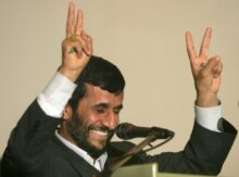 Indonesia -- Iranian President Mahmud Ahmadinejad gestures during a studium generale lecture at the Indonesian University in Jakarta, 11 May 2006