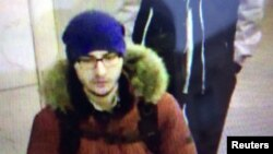 FILE - A still image of suspect Akbarzhon Dzhalilov walking at St Petersburg's metro station is shown in this police handout photo obtained by 5th Channel Russia, April 4, 2017.