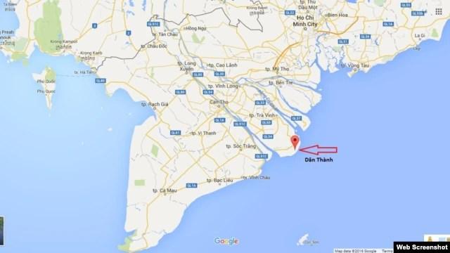 Vị trí xã Dân Thành, nơi đặt Trung tâm Nhiệt điện Duyên Hải, trên bản đồ. Ảnh chụp màn hình.