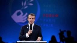 Президент Франції Еммануель Макрон на відкритті Паризького форуму миру 11 листопада 2018 р.