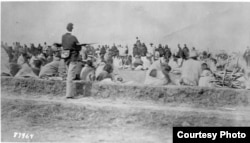 Navajos under guard at Fort Sumner, Bosque Redondo, ca. 1864. Courtesy: National Archives, Washington, DC
