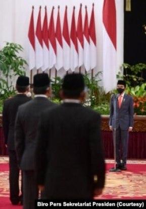 Presiden Joko Widodo melantik menteri dan wakil menteri baru di Istana Negara, Rabu, 23 Desember 2020. (Foto: Biro Pers Sekretariat Presiden)