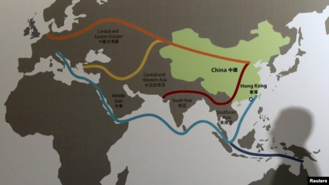 "A Map shows China's ""Belt and Road"" megaproject at the Asian Financial Forum in Hong Kong, last year"