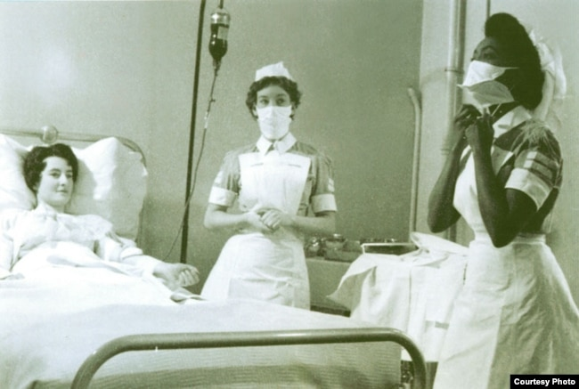 Edna Adan Ismail (R) is seen in a 1959 photo as a nursing student at a hospital in West London, Britain. (Courtesy - Edna Adan Hospital)