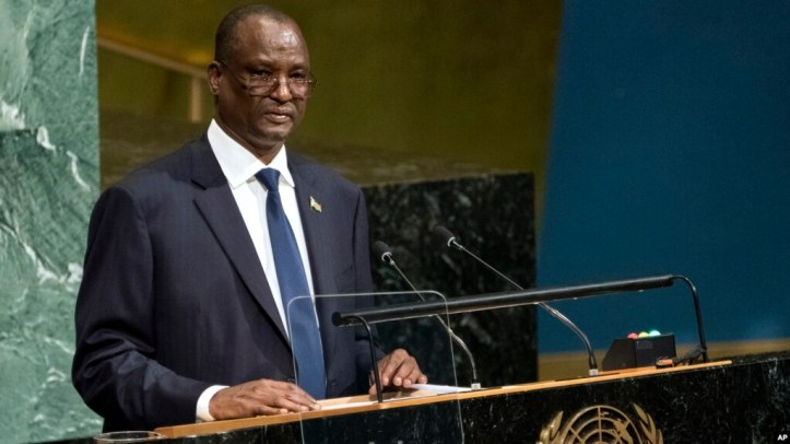 FILE - South Sudan's Vice President Taban Deng Gai addresses the United Nations General Assembly, Sept. 23, 2017, at U.N. headquarters.
