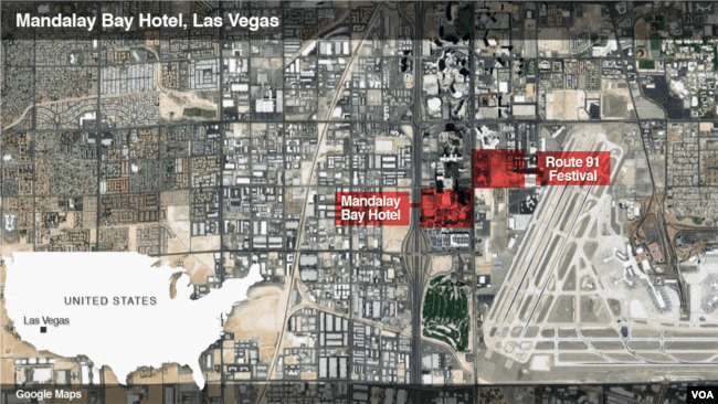 Map showing location of Las Vegas shooting.