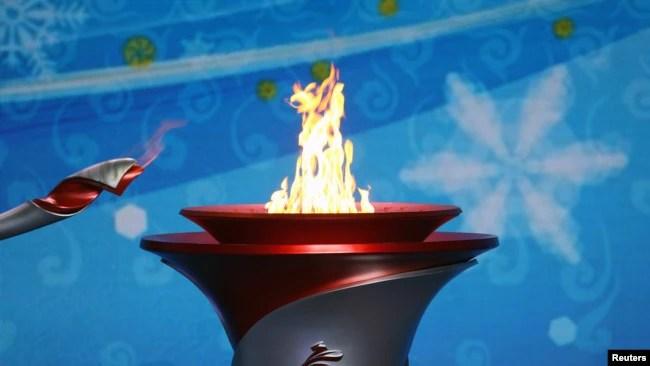 奥林匹克火炬抵达北京。(2021年10月20日)