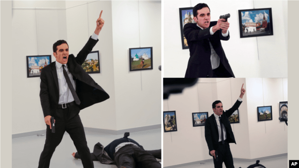 The immediate aftermath of the Dec. 19, 2016, shooting of Andrei Karlov, the Russian Ambassador to Turkey, is shown in this composite photo.
