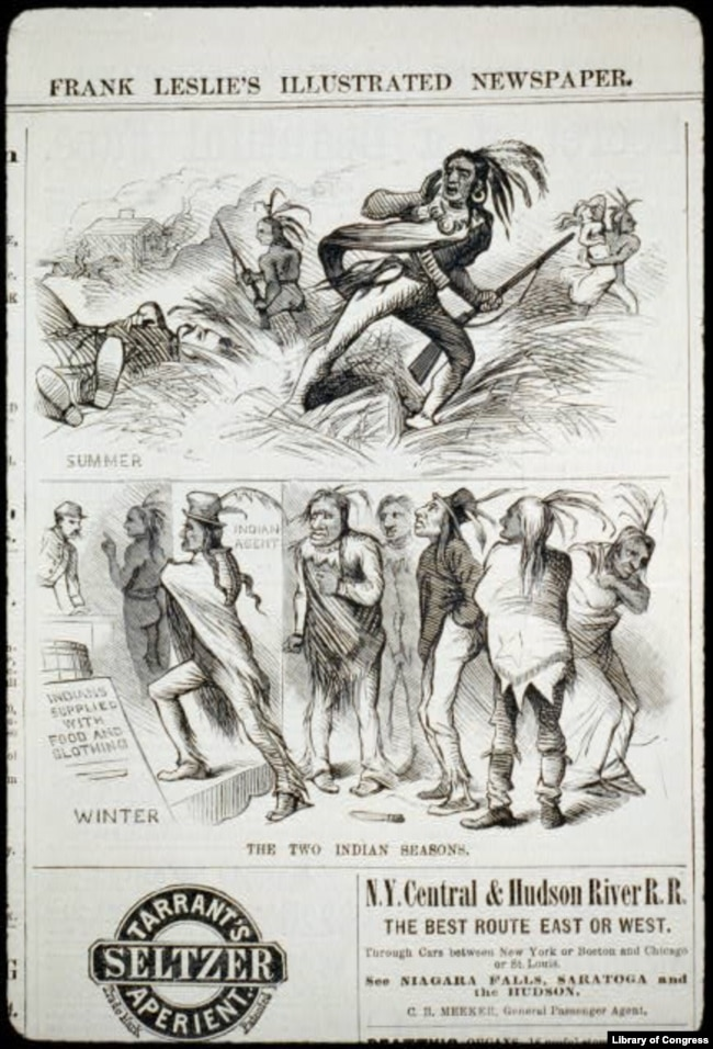 "Engraving from Oct. 1, 1881 issue of popular Frank Leslie's newspaper. Stereotypes of the ""savage"" or ""defeated"" Indian have helped shape public opinion about Native Americans for more than 200 years."