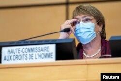 Michelle Bachelet, dalam pembukaan sidang ke-45 Komisi HAM PBB di Jenewa, Swiss, 14 September 14, 2020. (Martial Trezzini/Pool via REUTERS)