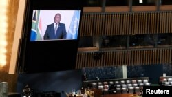 South African President Matamela Cyril Ramaphosa speaks on screen during the 76th session of the United Nations General Assembly at the United Nations Headquarters in New York on September 23, 2021.