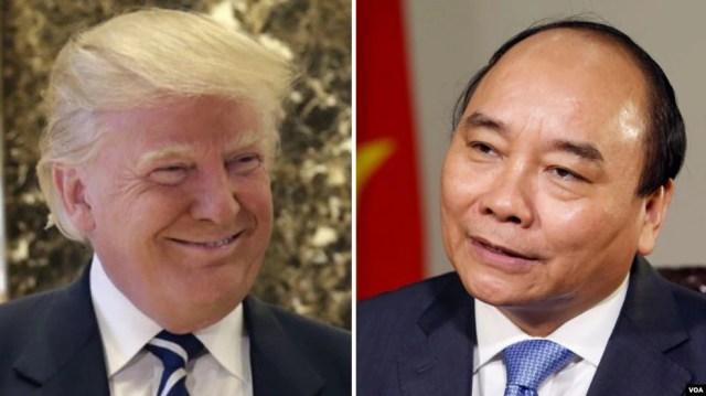 Tổng thống đắc cử của Hoa Kỳ Donald Trump và Thủ tướng Việt Nam Nguyễn Xuân Phúc.