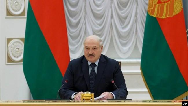 白俄罗斯总统卢卡申科在莫斯科讲话。(2021年5月28日)