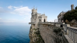 A general view shows the Swallow's Nest castle overlooking the Black Sea outside the Crimean town of Yalta, March 28, 2014.