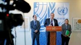 U.N. Independent Investigation on Burundi independent experts (L to R) Pablo de Greiff, Christof Heyns and Maya Sahli-Fadel speak upon presenting a final report, Sept. 27, 2016.