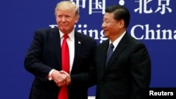 FILE - U.S. President Donald Trump and China's President Xi Jinping meet business leaders at the Great Hall of the People in Beijing, Nov. 9, 2017.