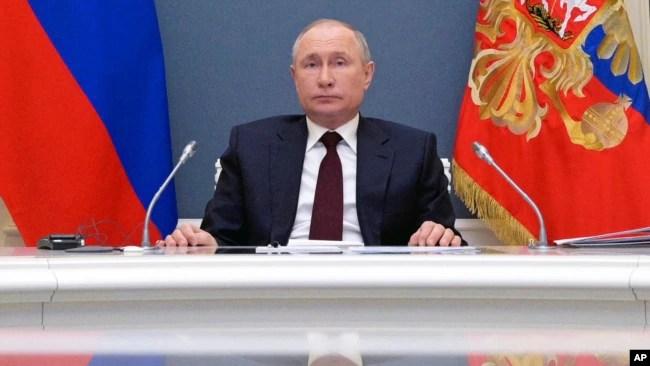 资料照:俄罗斯总统普京在克里姆林宫