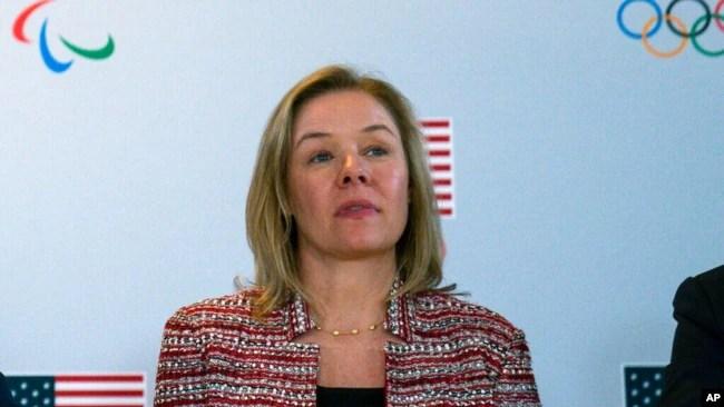 资料照片:美国国家奥林匹克委员会(USOPC)首席执行官赫希兰德在加利福尼亚州出席会议(2020年2月18日)