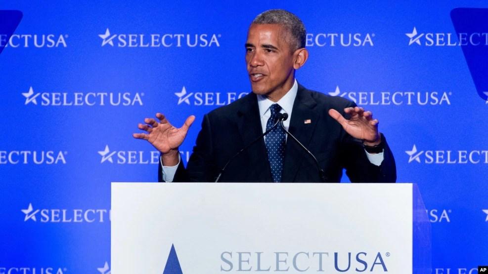 Tổng thống Barack Obama phát biểu tại Hội nghị Thượng đỉnh SelectUSA ở Washington, ngày 20 tháng 6 năm 2016.
