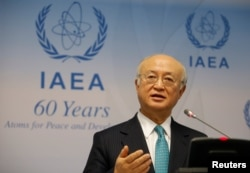 FILE - International Atomic Energy Agency (IAEA) Director General Yukiya Amano addresses a news conference after a board of governors meeting at the IAEA headquarters in Vienna, Austria, March 6, 2017.
