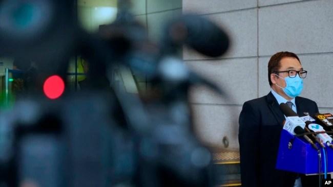 香港警方国安处高级警司李桂华星期三在记者会上。(2021年8月18日)