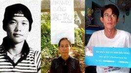 Bà Nguyễn thị Kim Lien mẹ của Đinh Nhật Uy (phải) và Đinh Nguyen Kha