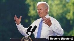 Presiden AS Joe Biden memberikan konferensi pers usai pertemuan di Jenewa, Rabu (16/6).