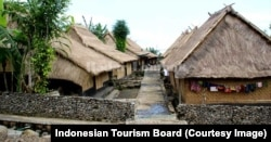 A village with traditional wooden houses in Limbungan Village, East Lombok.