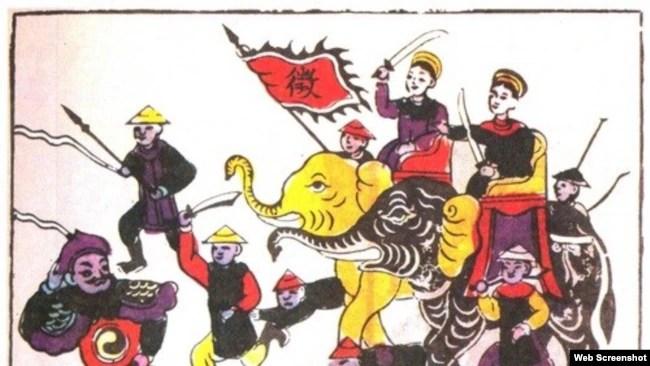 Hai Bà Trưng khởi nghĩa (Tranh dân gian Đông Hồ - Ảnh chụp Báo Giáo dục)