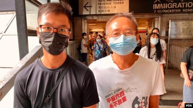 支联会发言人梁锦威(左)及常委徐汉光(右)表示,明年仍会继续坚持向警方申请举办合法的维园六四烛光集会 (美国之音/汤惠芸)