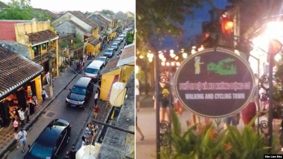 Đoàn xe thủ tướng Nguyễn Xuân Phúc rầm rộ kéo vào phố cổ Hội An, bất chấp bảng cấm xe cơ giới, 8/8/2016.