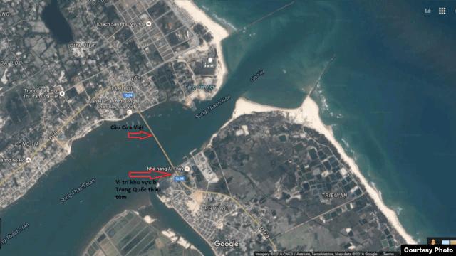 Vị trí khu vực bị Trung Quốc thâu tóm trên bản đồ toàn cảnh (bấm vào để phóng to).