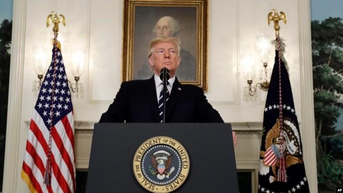 El presidente Donald Trump habla sobre el masivo tiroteo en un concierto en Las Vegas, Oct. 2, 2017.