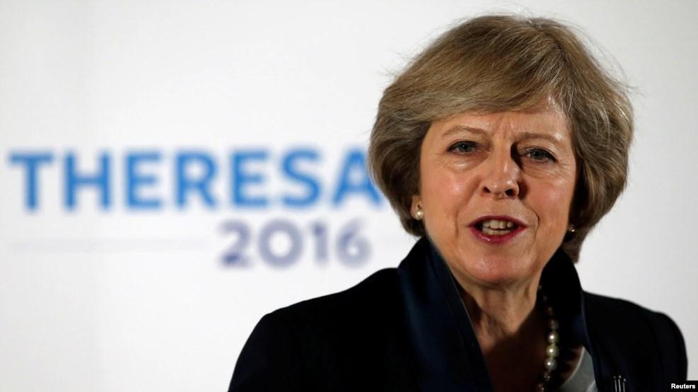 Bộ trưởng Nội Vụ Anh bà Theresa May phát biểu trong chiến dịch lãnh đạo đảng Bảo Thủ tổ chức tại Viện Kỹ thuật và Công nghệ Birmingham, Anh Quốc, ngày 11 tháng 7 năm 2016. (Reuters)