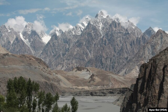 View from Gulmit village in Upper Hunza on the way to Khunjerab Pass