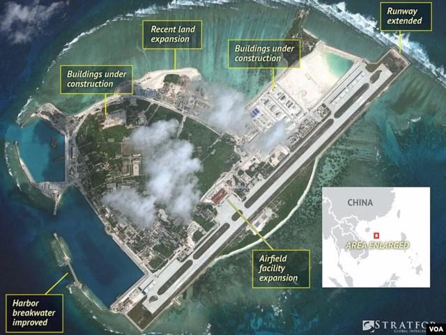 Hình ảnh vệ tinh cho thấy các hoạt động xây cất và quân sự hóa của Trung Quốc trên đảo Phú Lâm.