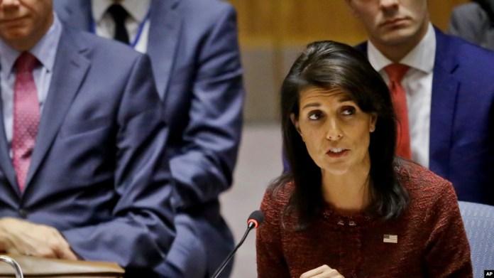 La embajadora de los Estados Unidos, Nikki Haley, dijo a periodistas que todas las opciones están en la mesa con respecto a Venezuela.
