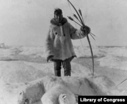 Eskimo Hunter with Polar Bear